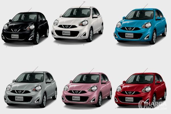 Gambar ini menunjukkan 6 pilihan warna mobil Nissan March