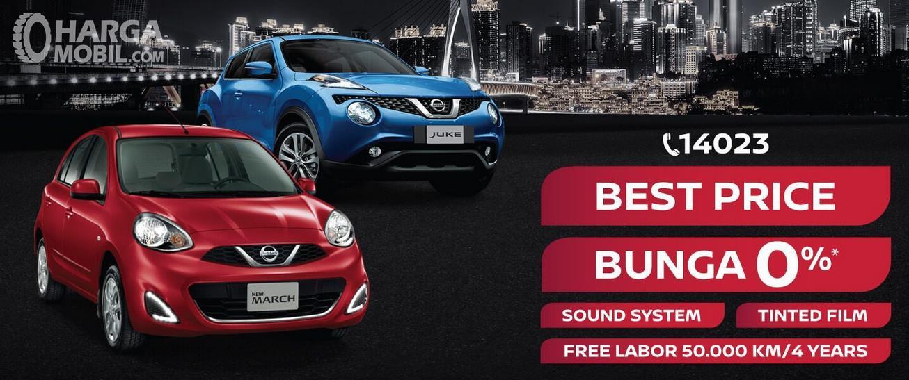 Gambar ini menunjukkan selebaran promo penjualan Mobil Nissan March