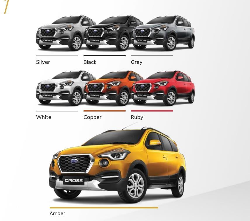 Pilihan Warna Datsun Cross terdiri dari 7 pilihan stylish