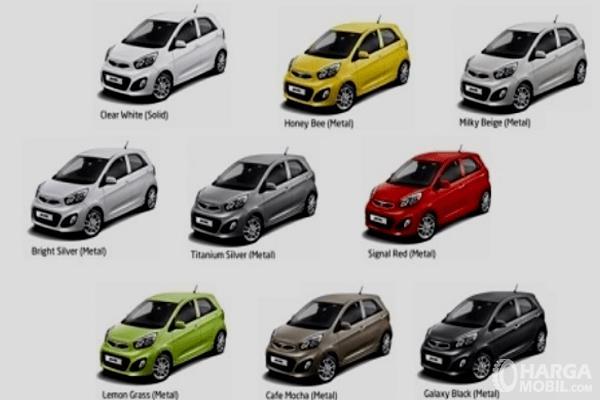 Gambar ini menunjukkan 9 pilihan warna mobil KIA Rio