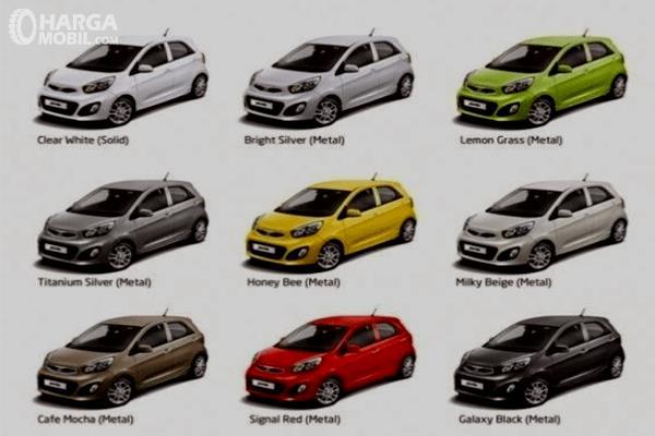 Gambar ini menunjukkan pilihan warna mobil KIA Picanto berjumlah 9