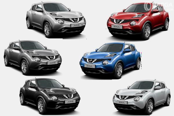 Gambar ini menunjukkan pilihan warna Nissan Juke dan tampak berbeda