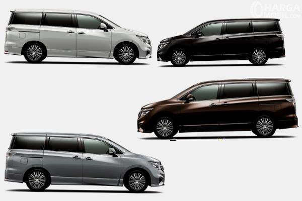 Gambar ini menunjukkan pilihan warna Nissan Elgrand dengan jumlah 4