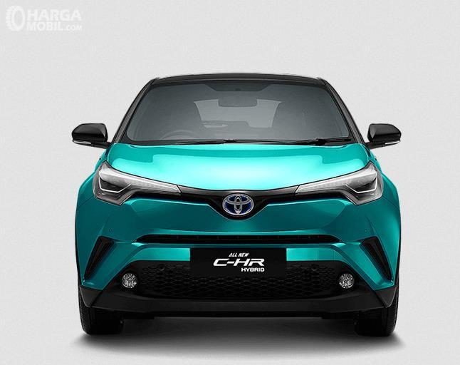 Gambar ini menunjukkan bagian depan Toyota C-HR Hybrid 2019 warna biru