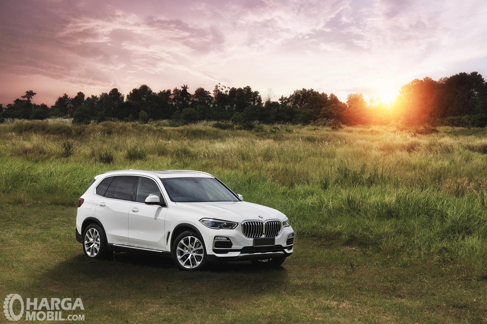 foto eksterior All-New BMW X5 berwarna putih di area hutan