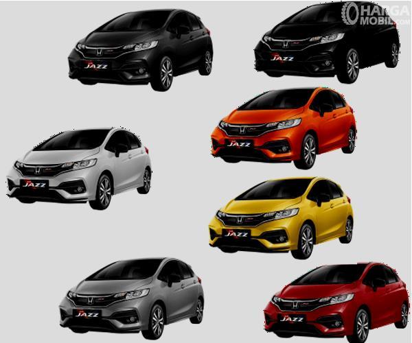 Gambar ini menunjukkan 7 pilihan warna Honda Jazz