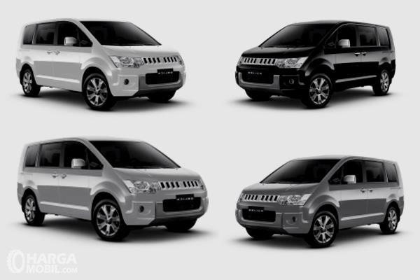 Gambar ini menunjukkan 4 unit mobil Mitsubishi Delica dengan warna berbeda
