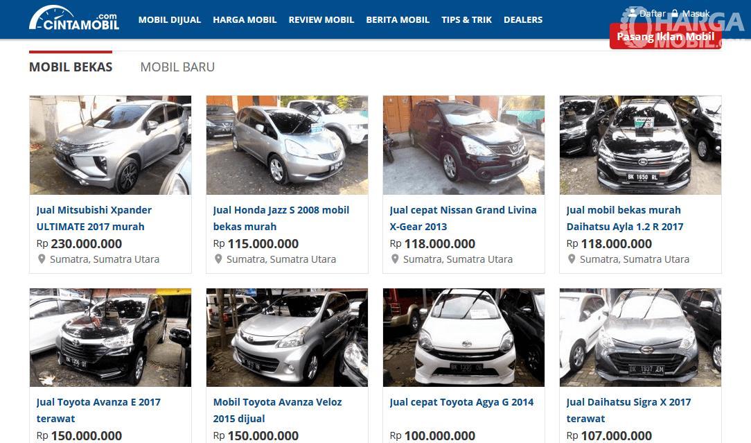 Gambar ini menunjukkan situs jual beli cintamobil.com