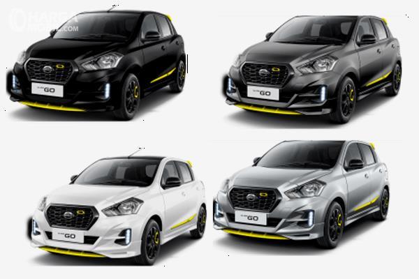 Gambar ini menunjukkan 4 pilihan warna dari Datsun Go Live