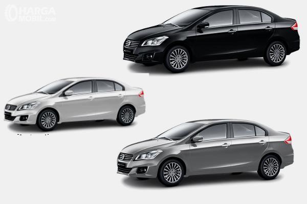 Gambar ini menunjukkan 3 pilihan warna Suzuki Ciaz