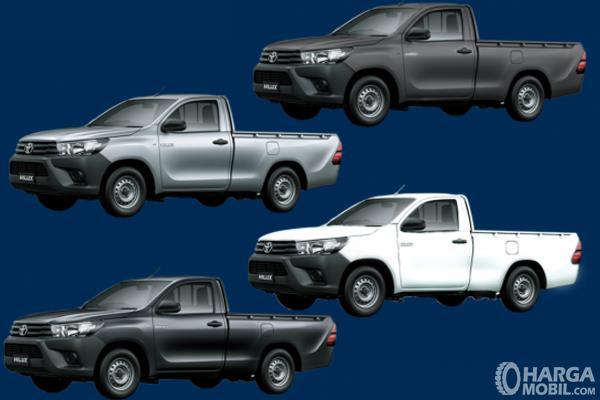 Gambar ini menunjukkan 4 pilihan warna mobil Toyota Hilux S-Cab