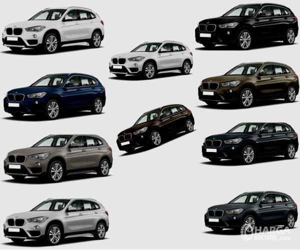 Gambar ini menunjukkan pilihan warna BMW X1 dengan jumlah 10