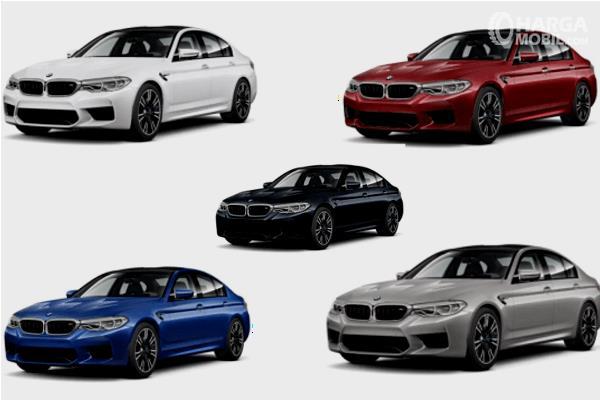 Gambar ini menunjukkan 5 pilihan warna Mobil BMW M5