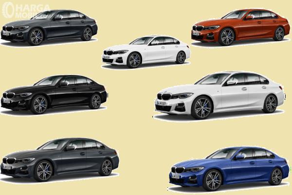 Gambar ini menunjukkan pilihan warna mobil BMW 3 Series 2019