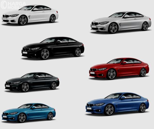 Gambar ini menunjukkan 7 pilihan warna BMW M4
