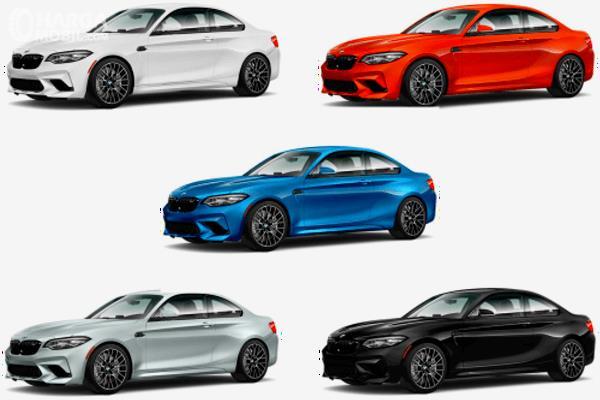 Gambar ini menunjukkan 5 pilihan warna dari BMW M2 Competition
