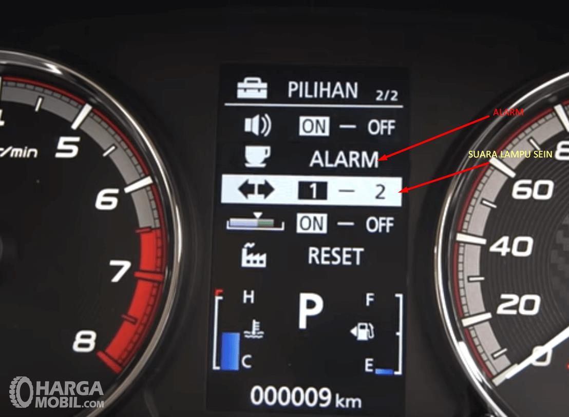Gambar ini menunjukkan beberapa pilihan dalam layar MID berupa Alarm, suara lampu sein dan lainnya