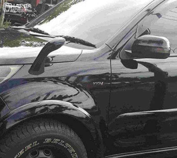 Gambar ini menunjukkan spion tanduk pada mobil warna hitam