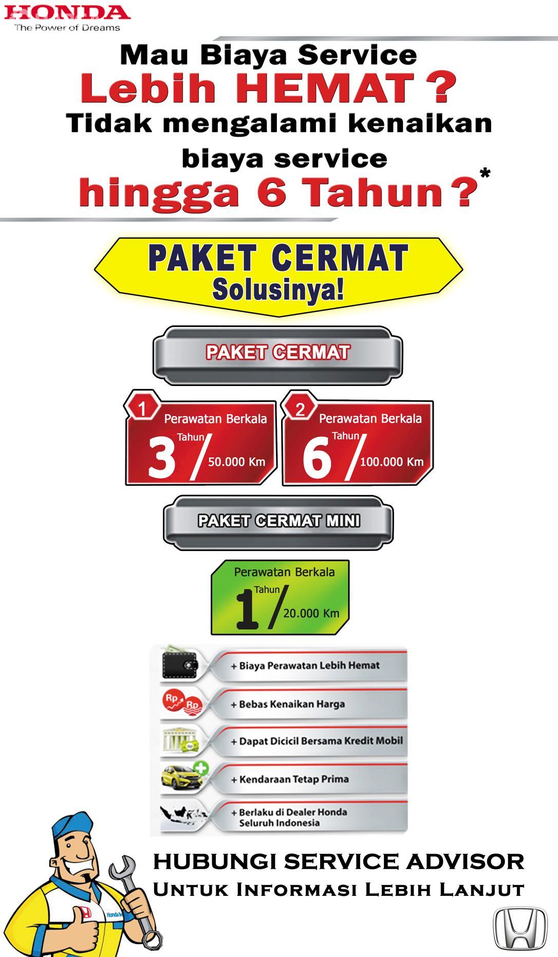 Banner Paket Servis Honda di bengkel resmi