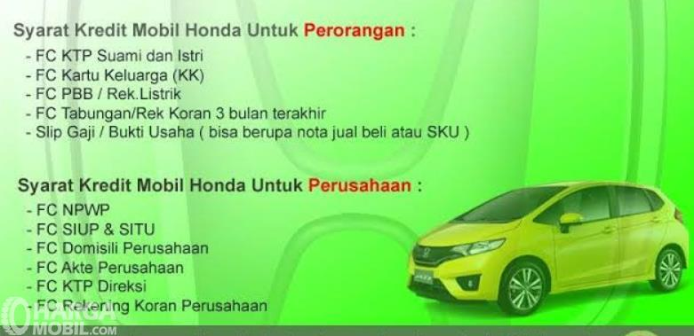 Gambar ini menunjukkan beberapa syarat pengajuan kredit di salah satu diler Honda
