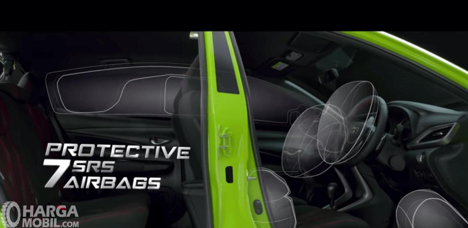 Gambar ini menunjukkan ilustrasi airbags pada Toyota Yaris TRD Sportivo 2018