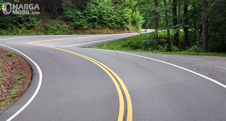 Gambar ini menunjukkan jalanan dengan marka warna putih dan kuning