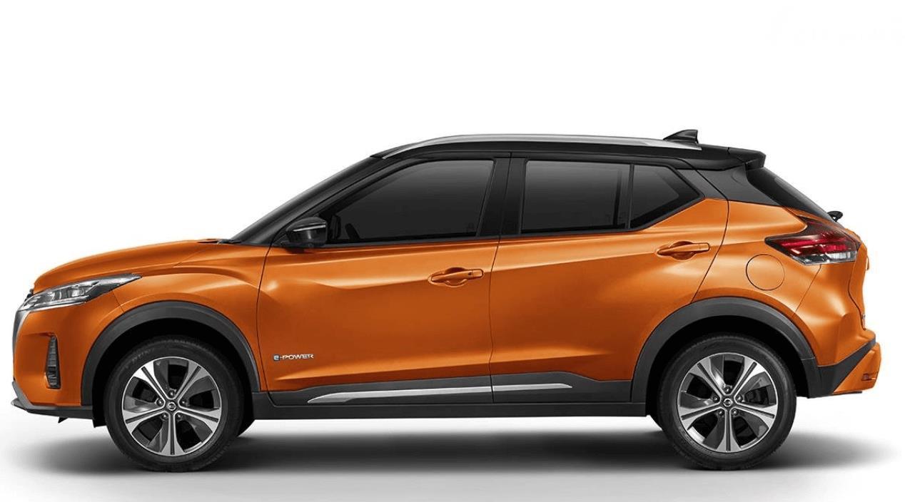 Gambar ini menunjukkan bagian samping mobil Nissan Kicks e-Power 2020