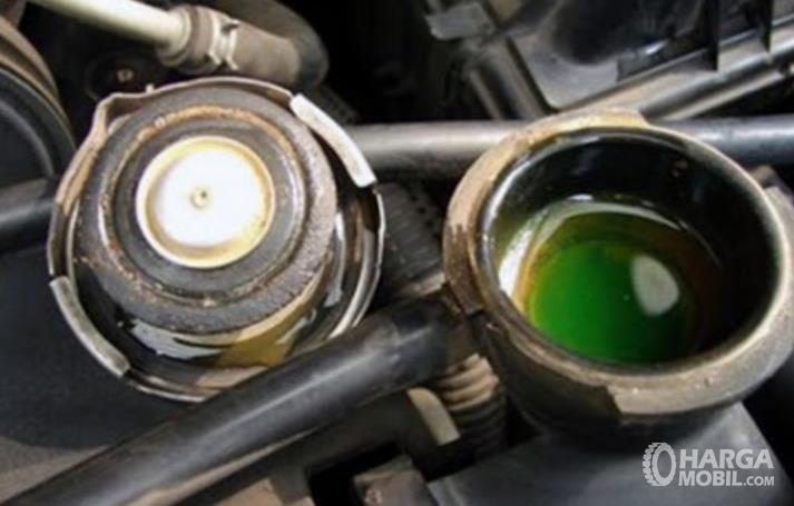 Gambar ini menunjukkan tutup radiator mobil yang dibuka