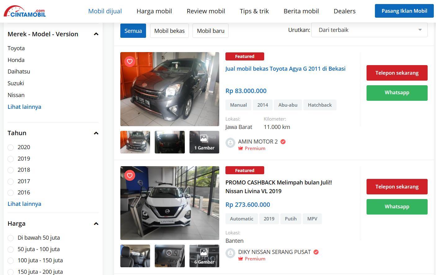 Gambar ini menunjukkan web Cintamobil.com situs jual beli ternama di Indonesia