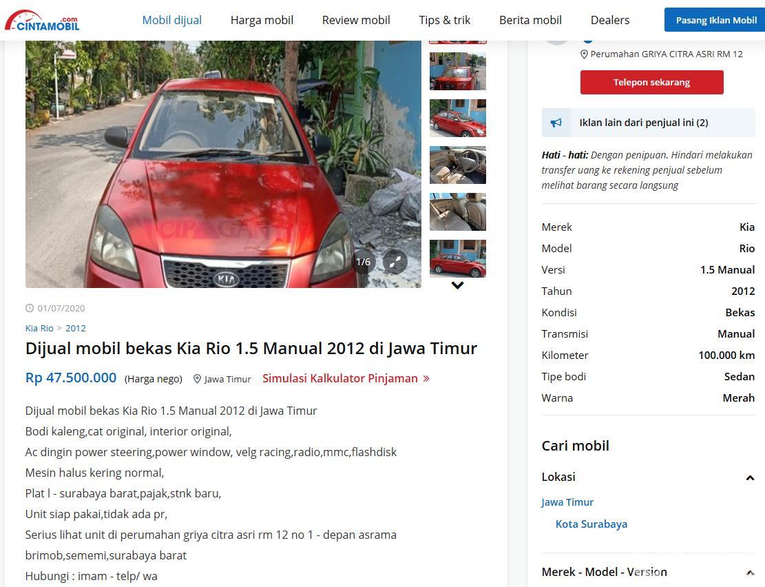 Gambar ini menunjukkan informasi mobil yang dijual online