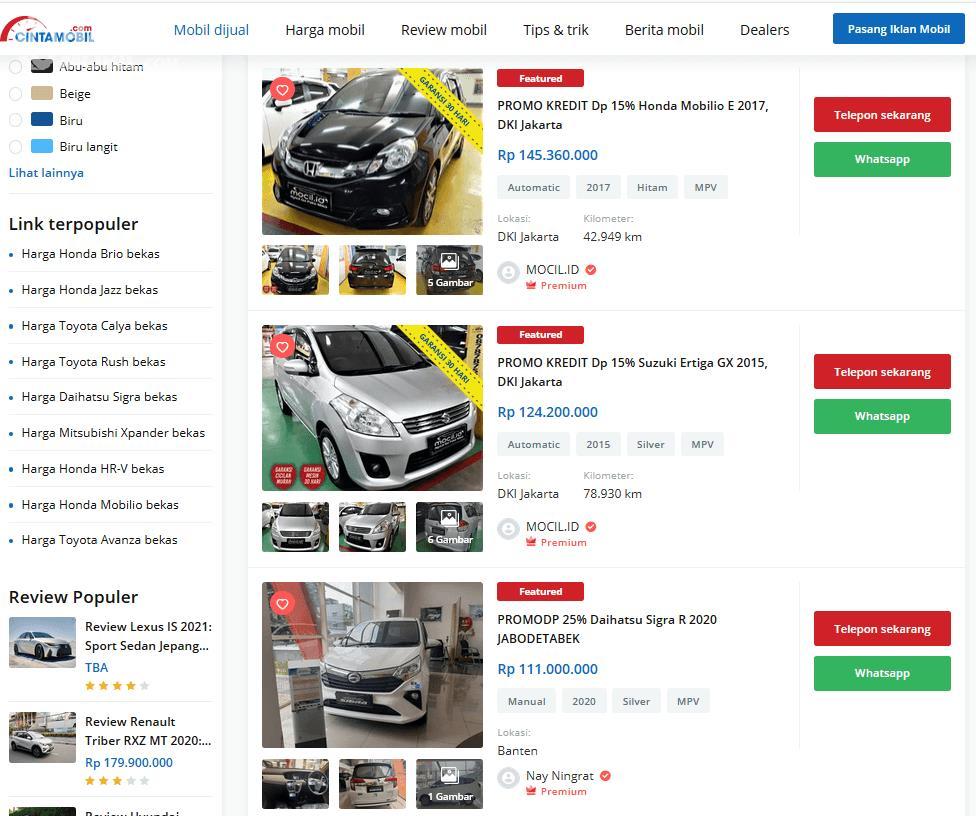 Gambar ini menunjukkan beberapa mobil MPV yang dijual melalui situs Cintamobil.com