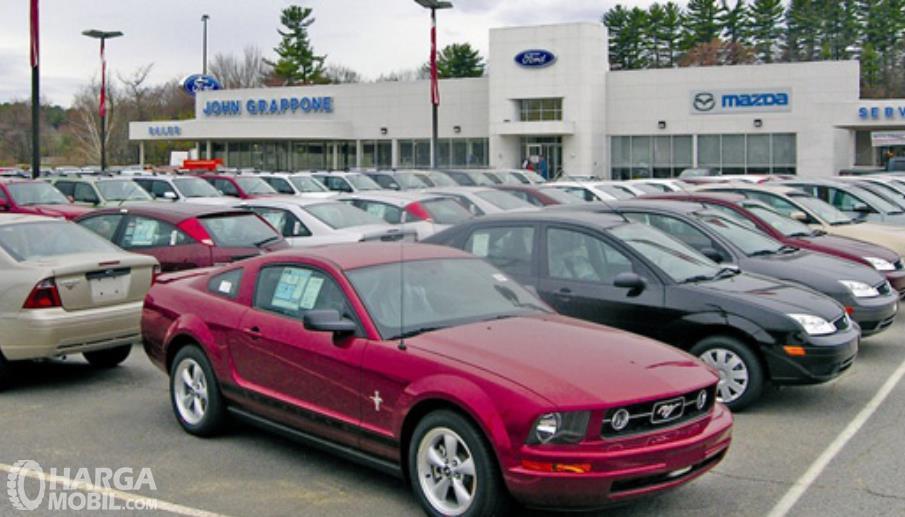 Gambar ini menunjukkan banyak mobil bekas yang diparkir berjejer