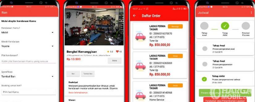 Gambar ini menunjukkan salah satu aplikasi bengkel mobil online