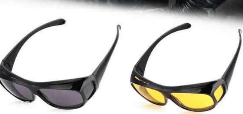 Gambar ini menunjukkan 2 kacamata dengan warna berbeda