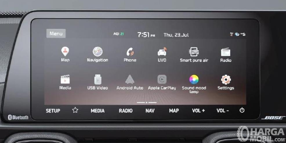 Gambar ini menunjukkan fitur  pada layar head unit Kia Sonet 2020