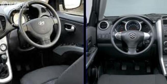 Gambar ini menunjukkan kemudi mobil bagian kanan dan kiri