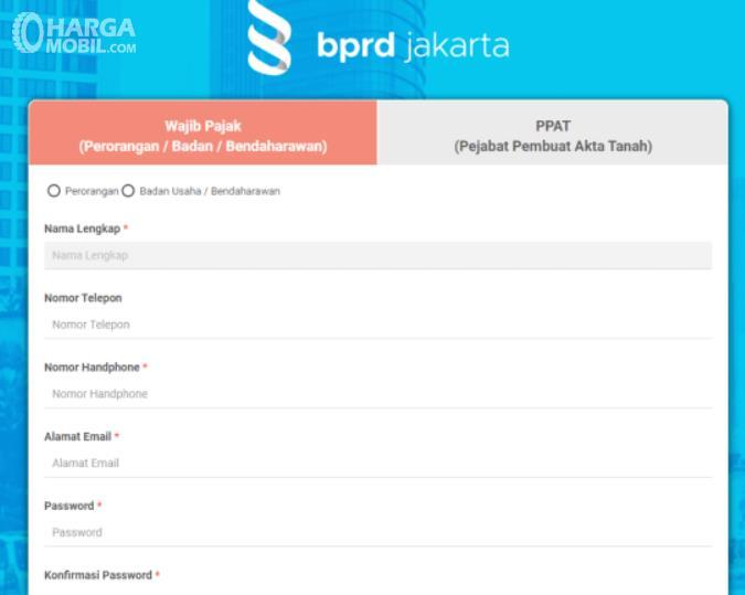 Gambar ini menunjukkan halaman pendaftaran BPRD Jakarta