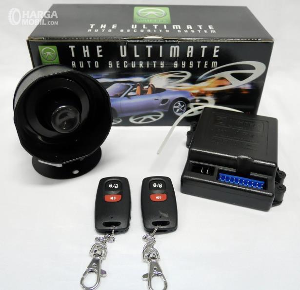 Gambar ini menunjukkan komponen alarm mobil