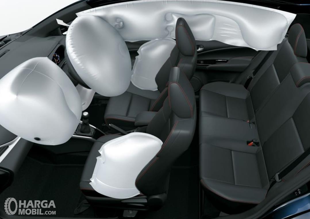 Gambar ini menunjukkan airbags Toyota Yaris G 2020 7 buah
