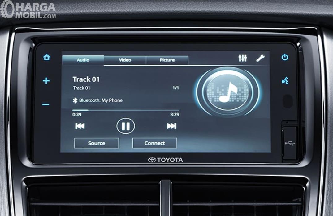 gambar ini menunjukkan head unit Toyota Yaris G 2020